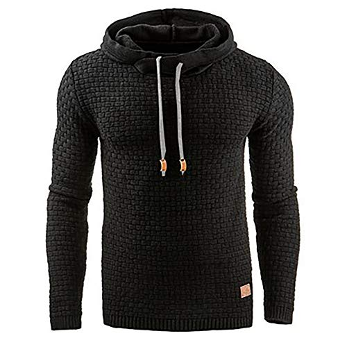 Mens Fashion Hoodies Pullover Athletic Sweatshirt Fleece Silm Fit Shirts Black 3XL