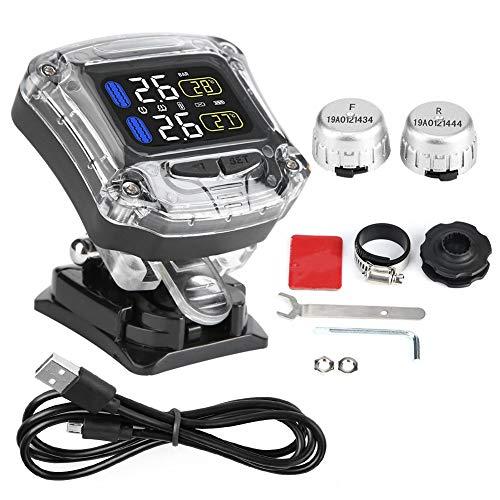 Yctze Moto TPMS Sensor externo, Moto TPMS Impermeable Monitoreo de presión de neumáticos con 2 sensores externos