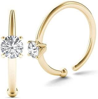 JewelMore 0.01ct Diamond Nose Ring Hoop