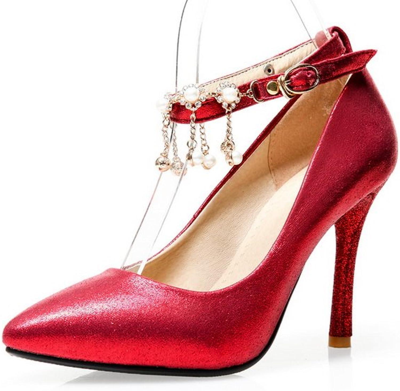 1TO9 Ladies Metal Chain Studded Rhinestones Metal Buckles Red Polyurethane Pumps-shoes - 6.5 B(M) US