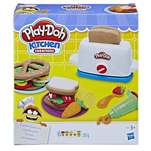 Imagina un sinfín de divertidos sándwiches, tentempiés y mucho más con esta divertida tostadora de juguete Crea tostadas Play-Doh con la tostadora y añade un montón de acompañamientos e ingredientes con las herramientas Utiliza los cuños para crear s...