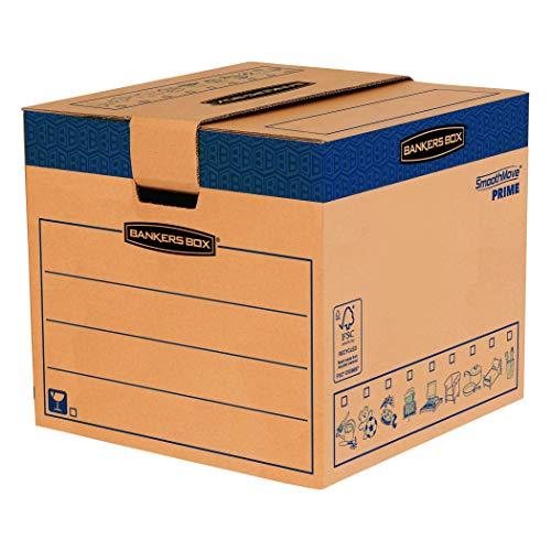 BANKERS BOX SmoothMove Heavy Duty Umzugskarton aus doppelt verstärkter Wellpappe mit Tragegriffen, schneller FastFold Aufbau ohne Klebeband, 85 Liter, 40.5 x 45.5 x 45.5 cm, 5 Stück