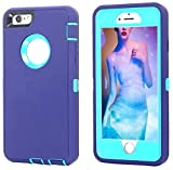 iPhone 8 Plus/7 Plus Case, AICase [Heavy Duty] [Full Body] Tough 3 in 1 Rugged Shockproof Water-Resistance Cover for Apple iPhone 8 Plus/7 Plus (Light Blue/Purple)