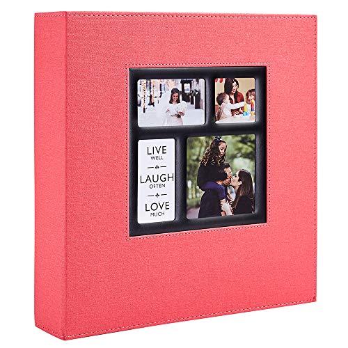 Benjia Álbum de fotos de 10 x 15 cm, 600 bolsillos, gran formato para familia, boda, clásica cubierta de lino (60 hojas, 120 páginas, rojo)