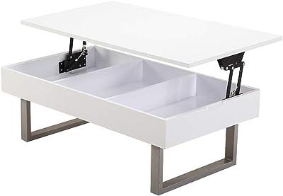 オーエスジェイ 昇降センターテーブル(小) ホワイト 収納型 幅100×奥行55×高さ37.5~58cm