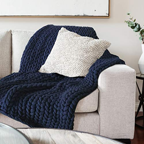 Chunky Knit Blanket Throw - Navy Blue - Giant Big Yarn Makes This Throw Super Thick Warm & Cosy - Plush Braided Cable Design - Soft Acrylic 60'x 40' – Luxury Home Decor Accent for Sofa, Couch or Bed