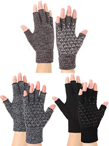 3 Pairs Winter Half Finger Knit Gloves Stretchy Texting Anti-Slip Winter Warm Knitted Fingerless Gloves for Women Men (Black, Black and White, Coffee and White)