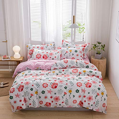 DUIPENGFEI Skin-friendly thick pure cotton, pastoral style duvet cover, bed sheet, 2 pillowcases, 4 piece set on bed, pink floral, suitable for 1.5-1.8m bed