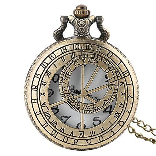 Taschen- und Armbanduhr Taschenuhr Retro Prager Astronomische Uhr Halskette for Männer Frauen Unisex-Taschen-Uhr-Anhänger Freunde Geschenk-Quarz-Uhren mit Kette (Color : Bronze)