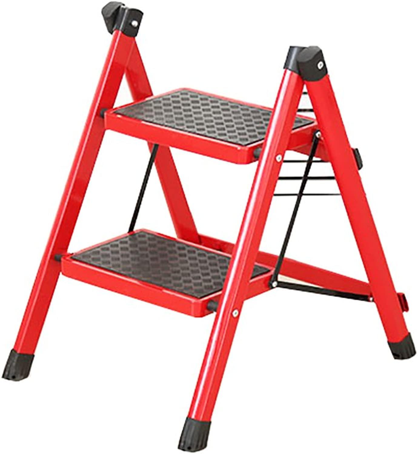 Folding Step Ladder with Handle and Non-Slip feet Home Folding Ladder Adult red Portable Folding Footstool   4 Size Options (Size   41  52  60cm)