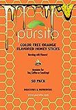 Orange Color Free, Honey Sticks, 50 Count, Raw Honey, Honey Straw, Pursito Brand Honeystix