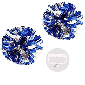 PUZINE Pack of 2 Cheerleading Metallic Foil & Plastic Ring Pom Poms Cheerleading Poms  Blue and Silver   80g