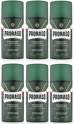 6er Rasierschaum Grün Proraso mit Eucalyptusöl und Menthol für alle Hauttypen je 300 ml = 1800 ml
