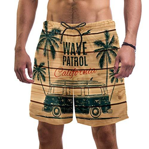 Lorvies Herren Vintage Surf Van Bus mit Palmen Möwe Holz Planken Strand Board Shorts schnell trocknend Badehose, L Gr. XXL, multi