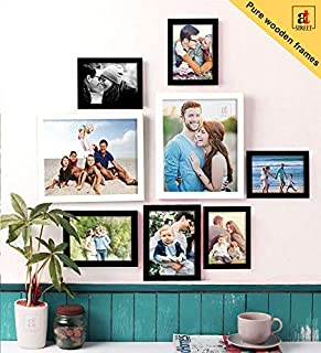 Art Street Set of 8 Black & White Wooden Wall Photo Frame, Picture Frame for Home Decor with Free Hanging Accessories-Size...