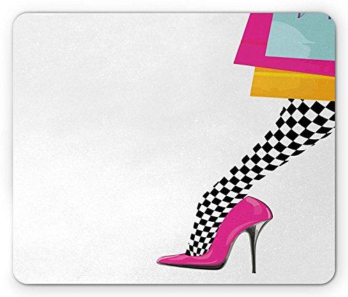 Mode muismat, Vrouwenbeen met roze hoge hak schoen geruit patroon voorraden en winkelen tassen, standaard grootte rechthoek anti-slip rubberen muismat, Multi kleuren