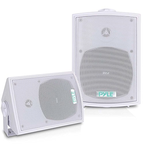 Dual Waterproof Outdoor Speaker System - 5.25 Inch Pair of Weatherproof Wall or Ceiling Mounted White Speakers w/ Heavy Duty Grill, Universal Mount - For Use in the Pool, Patio or Indoor - Pyle PDWR53