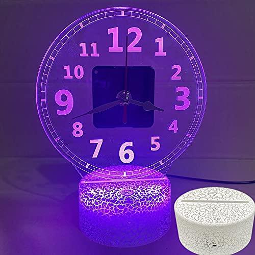 HSHHJSH Ilusión 3D lámpara-Foto personalización Alarma Reloj de Alarma 3D lámpara luz luz Nocturno niños Dormitorio decoración Regalo Noche luz Mesa Reloj de Noche decoración