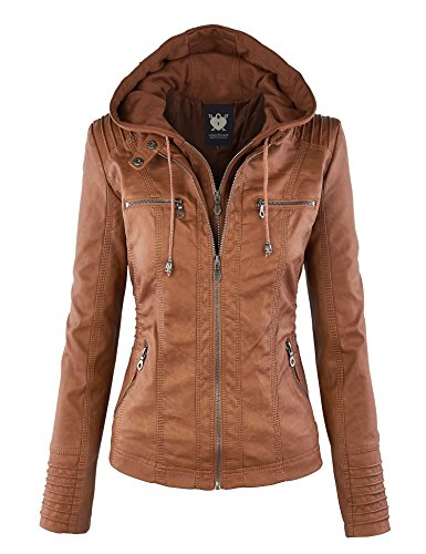 Lock and Love LL WJC663 Womens Removable Hoodie Motorcyle Jacket L Camel