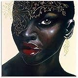 chuanglanja Lienzo Pintura Al Óleo 60 * 90cm Sin Marco Póster de Arte Póster de Belleza Negra Africana e impresión de imágenes Carteles de decoración de Dormitorio Familiar Moderno
