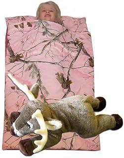 Camo Kids Realtree AP Pink Slumber Sleeping Bag & Animal Pillow (Whitetail Deer Pillow)