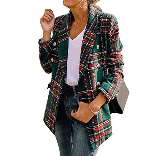 Frolada Ladies Blazer Tweed Coat Jacket Plaid Green And Red Office Double Side Woolen Cardigan Plaid Double-Breasted Chic for Work Fall or Winter Green L