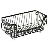 HINMAY Cesta de almacenamiento de metal con asas, apilable y colgante en la pared, cesta de alambre para frutas y verduras, organizador para armario de cocina, despensa y cuarto de baño