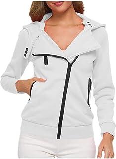 neveraway Women's Plain Thick Zipper Hood Sweatshirts Plus Velvet Jacket Coat