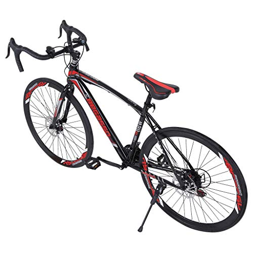 SSYUNO 700c Road Bike City Commuter Bicycle with 21 Speed Disc Brakes, 26' Aluminum Frame Suspension Hybrid Road Bike for Mens/Womens