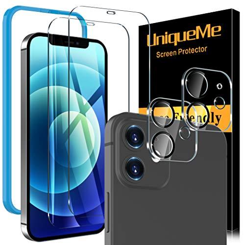 [4 Pezzi] UniqueMe Pellicola compatibile con iPhone 12 6.1 Pollici, [2 Pezzi] Vetro Temperato Pellicola e [2 Pezzi] Pellicola Fotocamera compatibile con iPhone 12 [Ritaglio preciso]