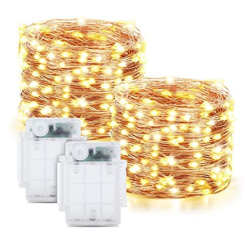 Maxsure Guirnalda Luces Pilas, 12M 120 LED, Luces LED Pilas 2 Pack, Luces Navidad con 8 Modos de Luz Decoración para Nalidad, Fiestas, Halloween, Patio, Jardines, etc. IP65 Impermeable, Blanco Cálido
