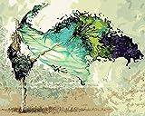 Toudorp Pittura a Olio Fai da Te con i Numeri, Pittura a Olio su Tela Ballerino Astratto Dipinto con i Numeri con pennelli Senza Cornice 16 x 20 Pollici