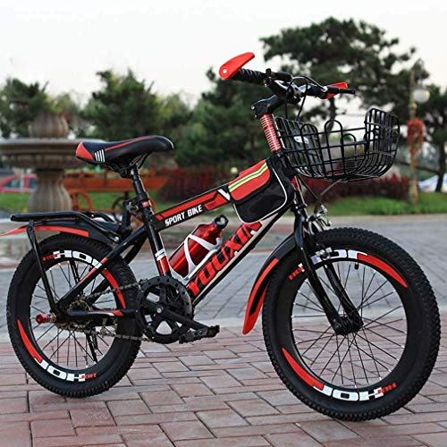 HCMNME Durable Bicycle Mountain Bike for Kids, Steel Frame Single Speed Kids Bike for 6-12 Years Old Boys Girls, Pupils Mountain Bicycle with Kettle and Back Seat & Basket,Red,20inch Alloy Frame