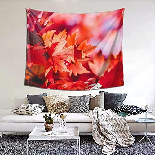 Tapiz para colgar en la pared, hojas de arce rojas, decoración del hogar, cortina para dormitorio, collage dormitorio, oficina, 152 x 152 cm