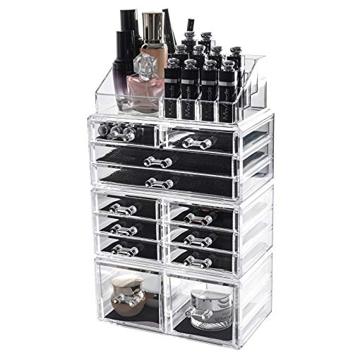 D4P Display4top cosmetico dell' organizzatore di immagazzinaggio, Make Up dell' organizzatore di immagazzinaggio Cosmetici per Bagno Desktop (12 cassettiere Traparente)
