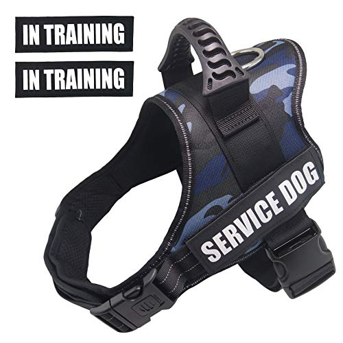 Dihapet Dog Harness, Service Dog Vest, No Pull No Choke Dog Vest for Training Walking Jogging (XS Chest 17-22in, Blue Camo)