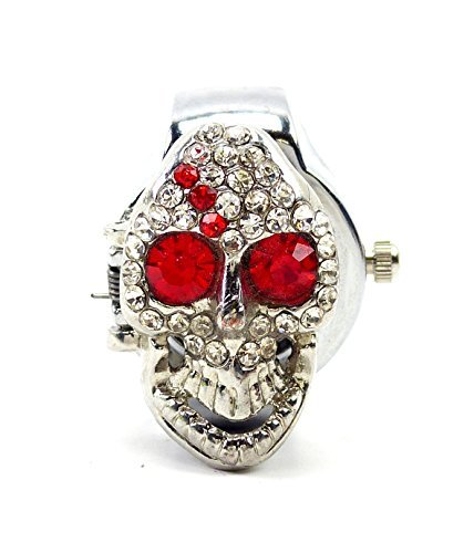 Horror Totenkopf Ring mit Uhr Halloween Silber Ring Party Style Fasching Rock the Ring alle Größen RED STAR