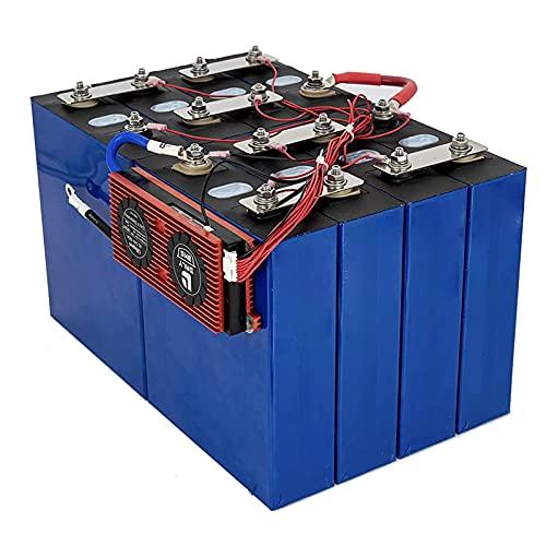 LONGRING Batería Prismática De Celdas Profundas De Fosfato De Hierro Y Litio Lifepo4 De 4Pcs 3.2 V 100 Ah+BMS con 3 Barras Colectoras Y 8 Tuercas - para Aplicaciones RV Solar,4PCS+BMS