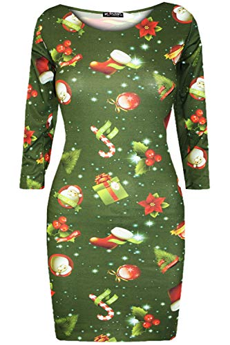 Fashion Star Womens Xmas Red Nose Reindeer Bodycon Dress Reindeer & Stocking Green S/M (UK 8/10)