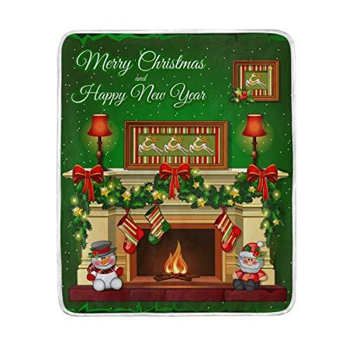 Mesllings gooien deken kerst sokken open haard lichtgewicht warm gezellig microvezel dekens reizen camping alle seizoen bank bed 50