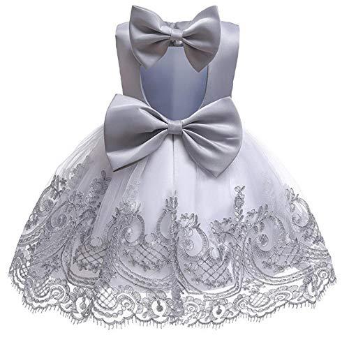 BAIDEFENG Vestido de Boda de Verano para nios, Vestido de Princesa, Falda con Bordado de Encaje, Falda con Lazo, Vestido de Flores para nias, Regalo de cumpleaos para nia-Gris_110cm