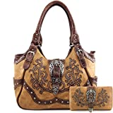 Justin West American Albino Floral Embroidery Buckle Shoulder Concealed Carry Handbag Purse (Tan Purse and Wallet Set)