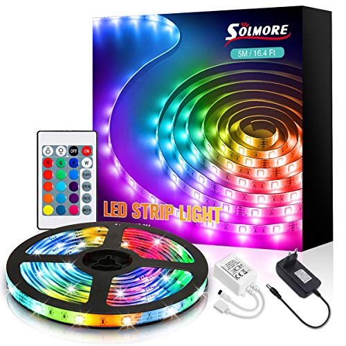 LED Strip 5m, SOLMORE RGB LED Streifen Lichterkette Lichtband mit Fernbedienung, SMD5050 Farbwechsel LED Bänder Strips Ideal für Schlafzimmer, Party Deko, mit Klebstoff und Feste Clips, 12V Netztei