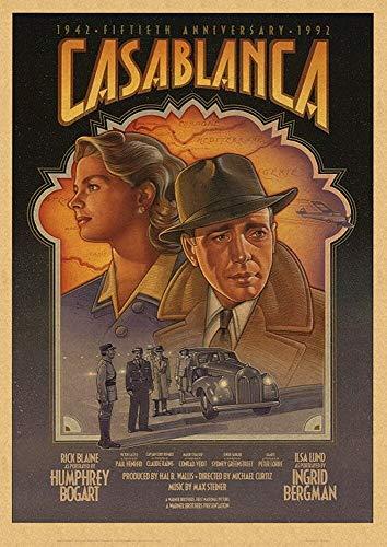 JXAA Pintura Retro Imagen de Arte Estirada Pintura póster de película Cartel de Kraft Vintage decoración de Cine Pintura 50x70cm sin Marco