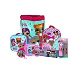 L.O.L Surprise 8PC Back to School Bundle - inc Backpack, Drawstring Sports Bag, Insulated Lunch Bag, Sandwich Box, Water Bottle, Coin Pouch, Pencil Case & Stationery Set.