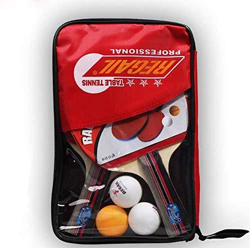 HJX888 Raquetas de Tenis de Mesa - Juego de Tenis de Mesa, 2 Raqueta de pimpón + 3 Pelotas de Tenis de Mesa + Pelotas Bolsa de Transporte,Long Handle/Red