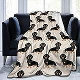 Cute Wiener Dog Doxie Dachshund Fleece Throw Blanket, Fuzzy Warm Throws for Winter Bedding, Couch and Plush House Warming Decor Gift Idea (60'x50')