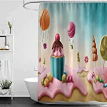 homecoco Shower Curtains for Boys Bathroom Sets Girls Room Decor,Fantasy Candyland with Cupcake Bonbon Lollipops Fairytale Delicious Sweets,Multicolor W72 x L72,Shower Curtain for Bathroom