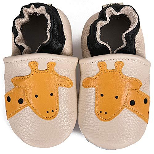 BAOLESEM Krabbelschuhe Leder Lauflernschuhe Jungen Hausschuhe Mädchen Weicher Kleinkind Babyschuhe mit Rutschfesten Wildledersohlen für Baby,Beige Giraffe,12-18 Monate