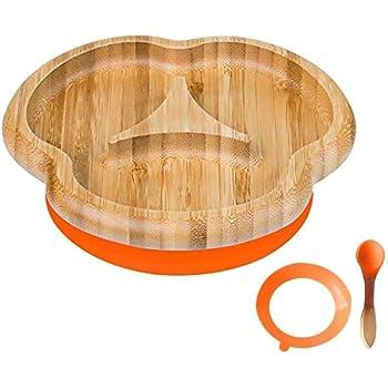 CXS Placa del niño del Divisor, succión permanecen Puestos de alimentación de la Placa, bambú Natural (Color : A)